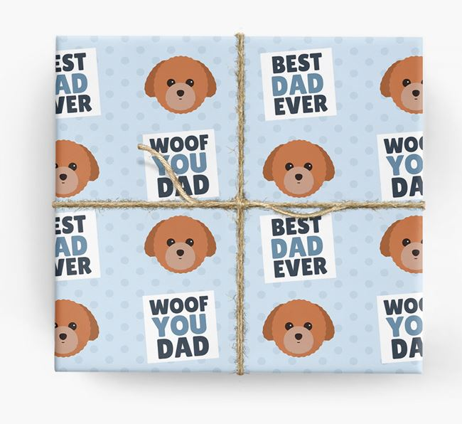 'Woof You Dad' - Personalized Toy Poodle Wrapping Paper