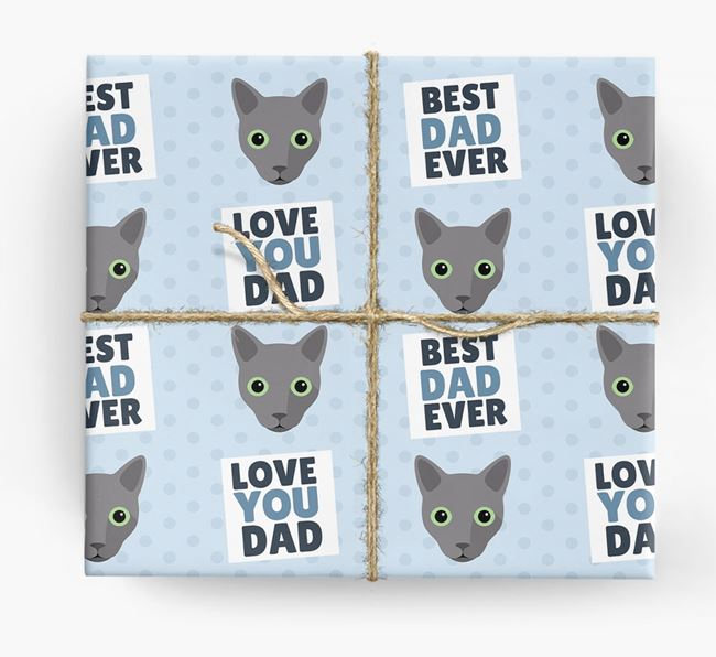 'Love You Dad' - Personalized Cat Wrapping Paper