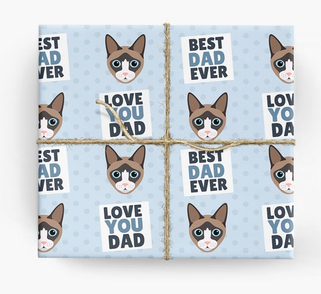 'Love You Dad' - Personalised Cat Wrapping Paper