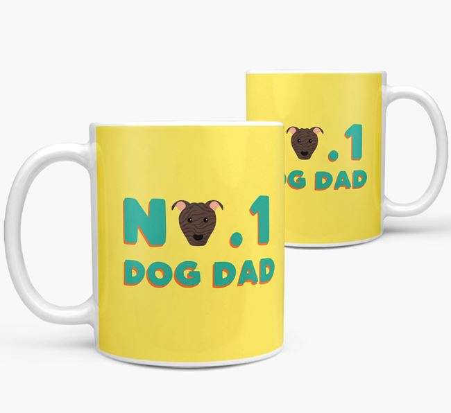 'No. 1 Dog Dad' - Personalized American Pit Bull Terrier Mug