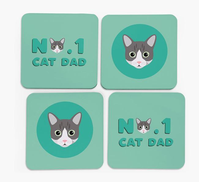 'No. 1 Cat Dad' - Personalized Cat Coasters (Set of 4)