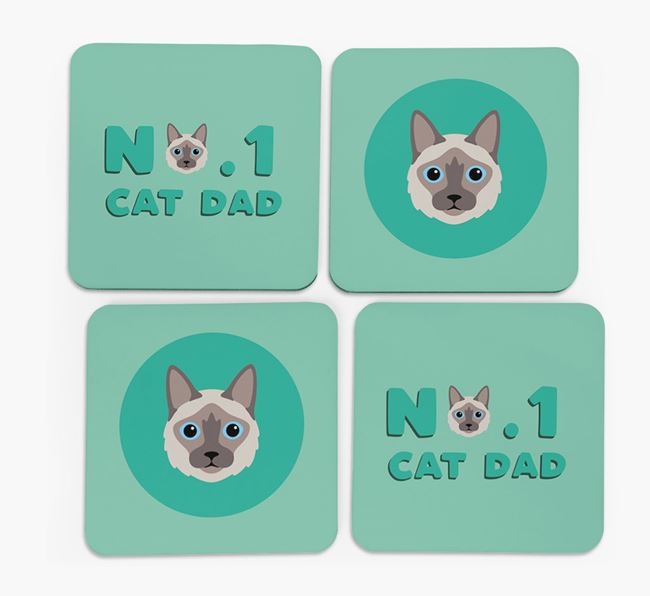 'No. 1 Cat Dad' - Personalized Balinese Coasters (Set of 4)