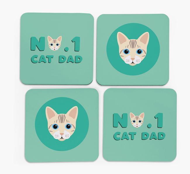 'No. 1 Cat Dad' - Personalized Bengal Coasters (Set of 4)