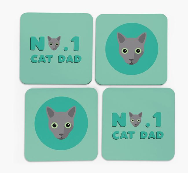 'No. 1 Cat Dad' - Personalised Cat Coasters (Set of 4)