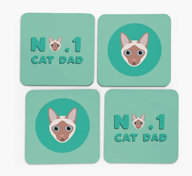 'No. 1 Cat Dad' - Personalized Siamese Coasters (Set of 4)