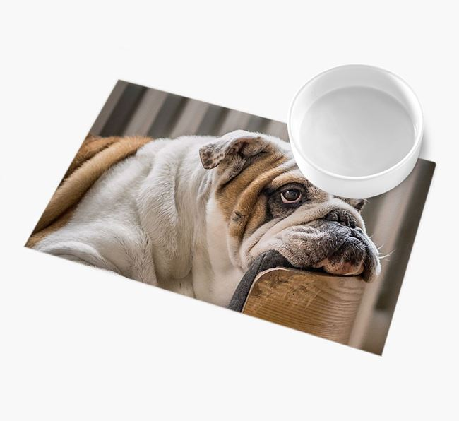 Full Photo Upload - Personalised English Bulldog Feeding Mat