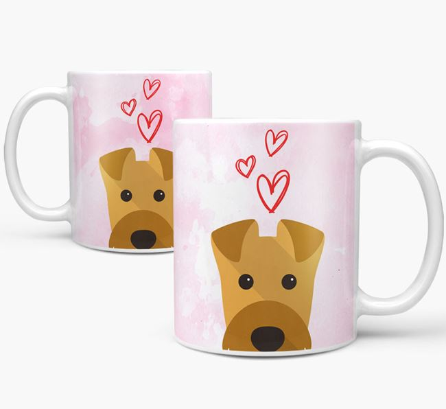 Peeking Airedale Terrier Icon and Hearts Mug