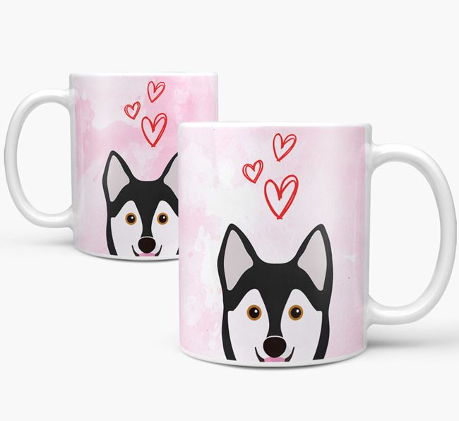 Peeking Alaskan Klee Kai Icon and Hearts Mug