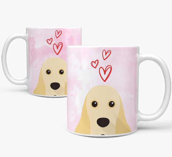 Peeking American Cocker Spaniel Icon and Hearts Mug