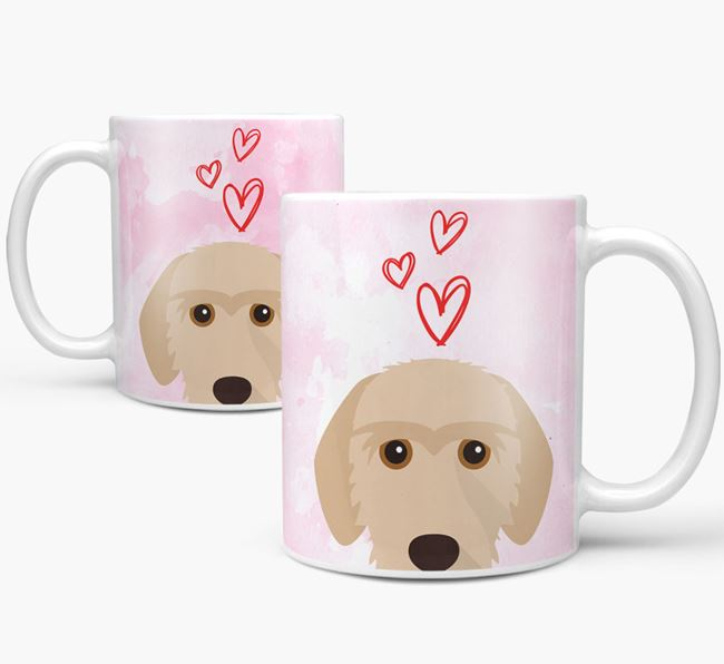 Peeking Basset Fauve De Bretagne Icon and Hearts Mug