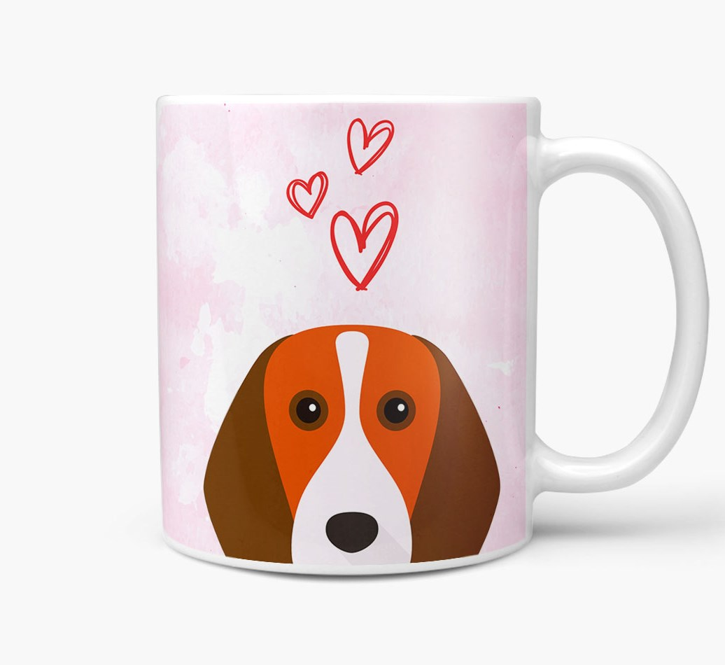 Beagle {colour} Icon with Hearts Mug Side View