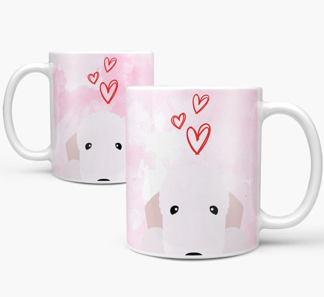 Peeking Bedlington Terrier Icon and Hearts Mug