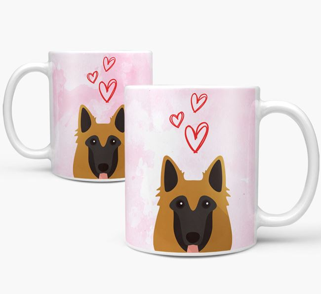 Peeking Belgian Tervuren Icon and Hearts Mug
