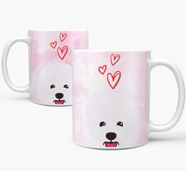 Peeking Bichon Frise Icon and Hearts Mug