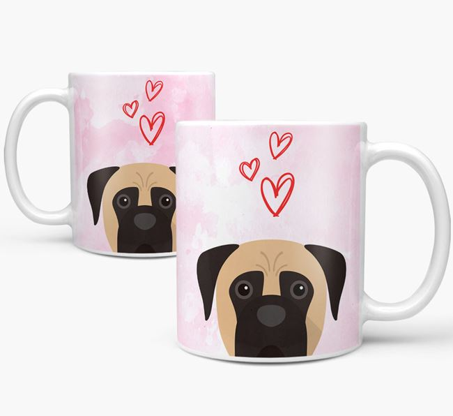 Peeking Boerboel Icon and Hearts Mug