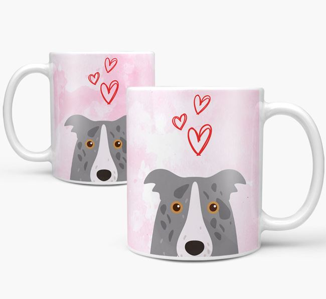 Peeking Border Collie Icon and Hearts Mug