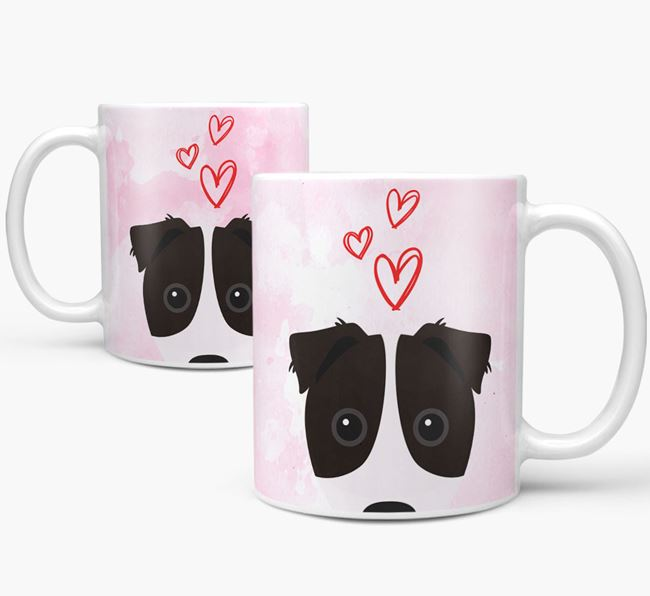 Peeking Border Jack Icon and Hearts Mug