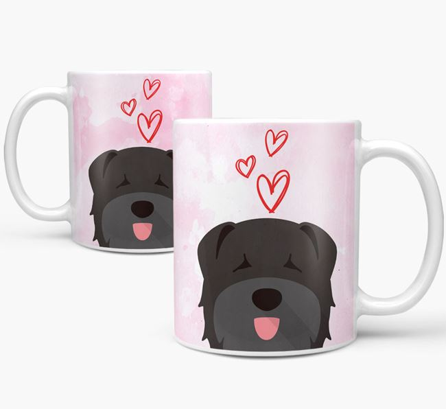 Peeking Bouvier Des Flandres Icon and Hearts Mug