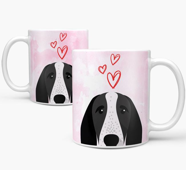 Peeking Braque D'Auvergne Icon and Hearts Mug