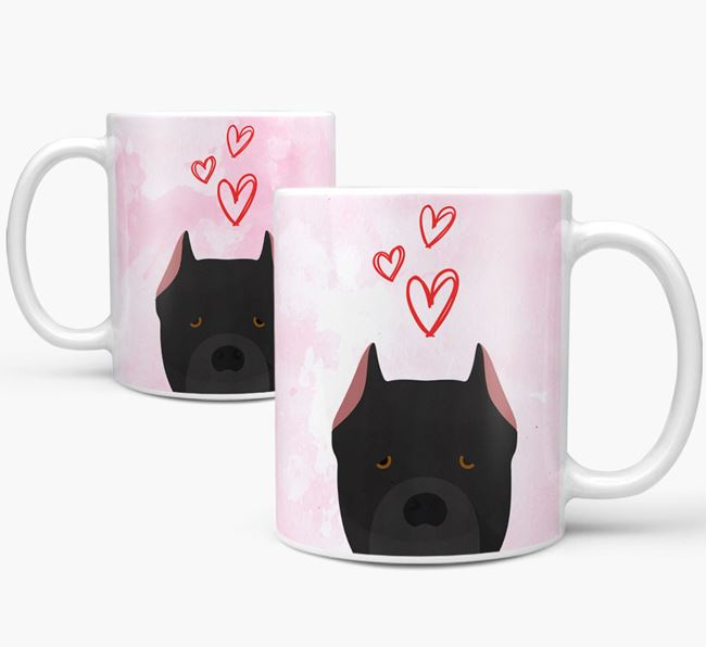Peeking Cane Corso Italiano Icon and Hearts Mug