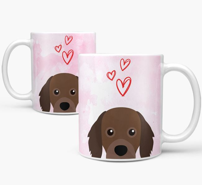 Peeking Cavapom Icon and Hearts Mug