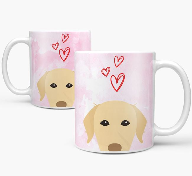 Peeking Chesapeake Bay Retriever Icon and Hearts Mug