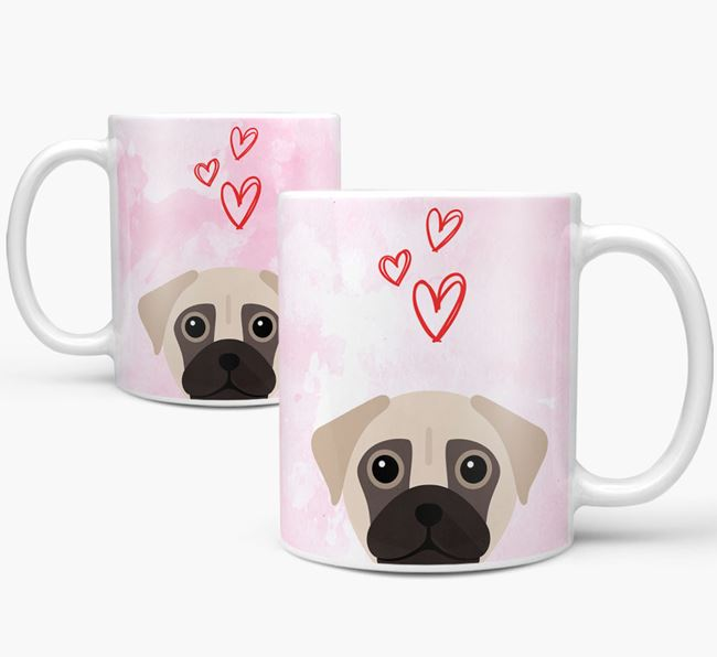 Peeking Chug Icon and Hearts Mug