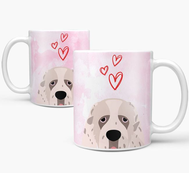 Peeking Clumber Spaniel Icon and Hearts Mug