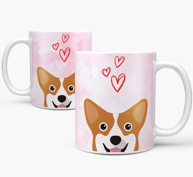 Peeking Corgi Icon and Hearts Mug
