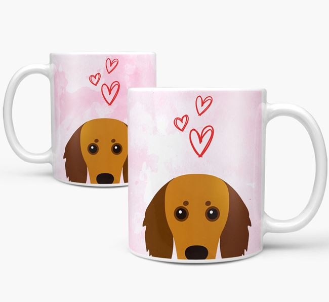 Peeking Doxiepoo Icon and Hearts Mug