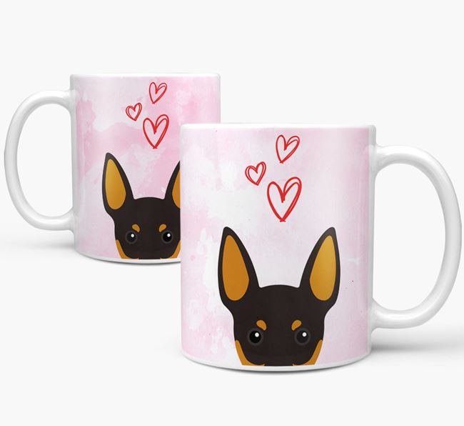 Peeking English Toy Terrier Icon and Hearts Mug
