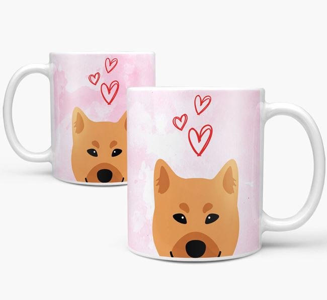 Peeking Finnish Spitz Icon and Hearts Mug