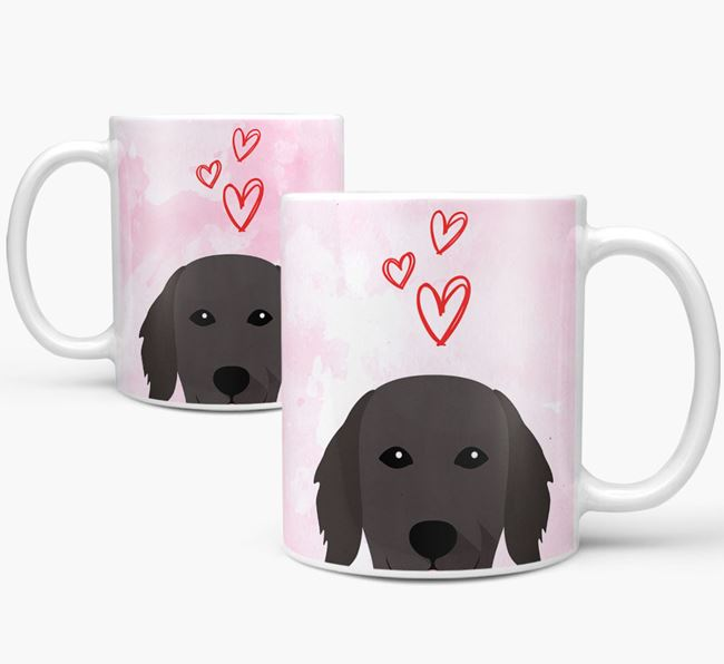 Peeking Flat-Coated Retriever Icon and Hearts Mug