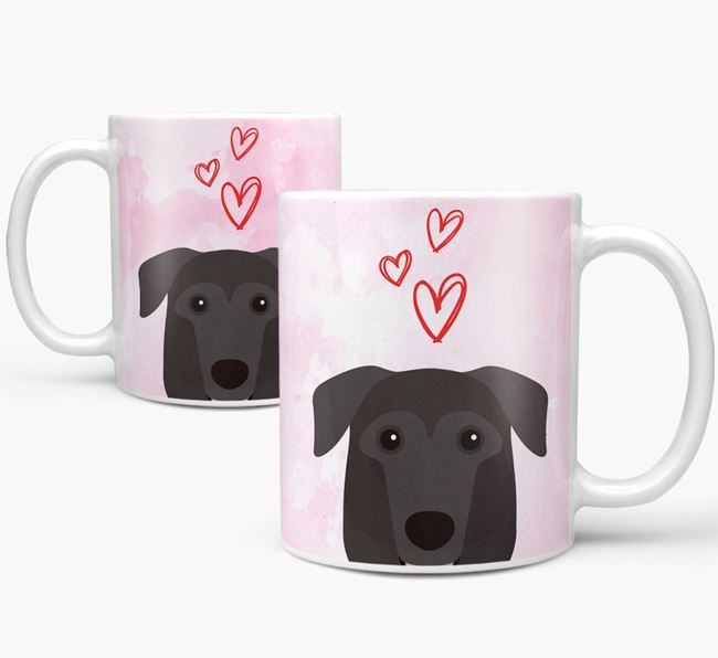 Peeking German Sheprador Icon and Hearts Mug