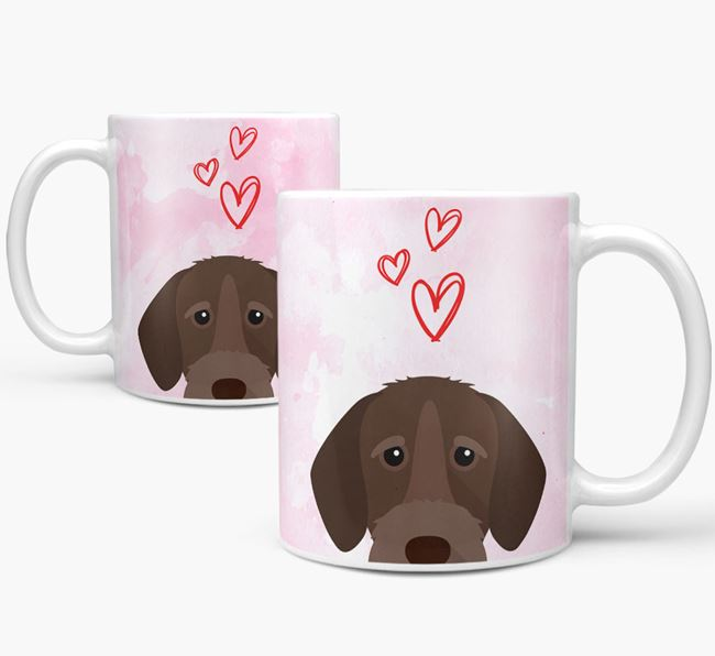 Peeking German Wirehaired Pointer Icon and Hearts Mug
