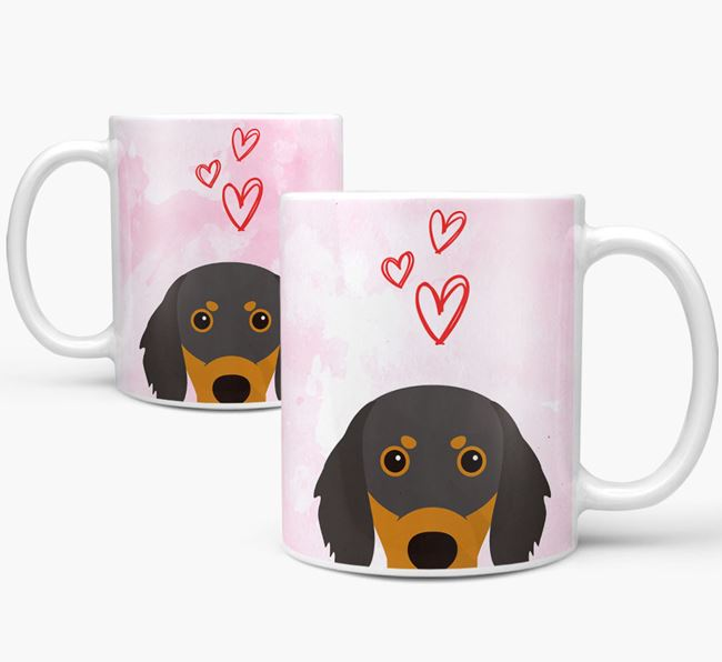 Peeking Gordon Setter Icon and Hearts Mug
