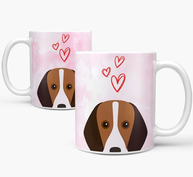 Peeking Harrier Icon and Hearts Mug