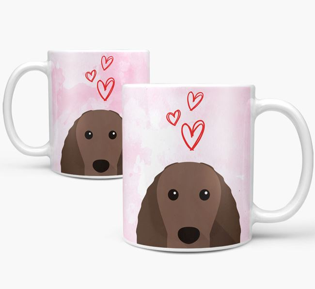 Peeking Irish Water Spaniel Icon and Hearts Mug