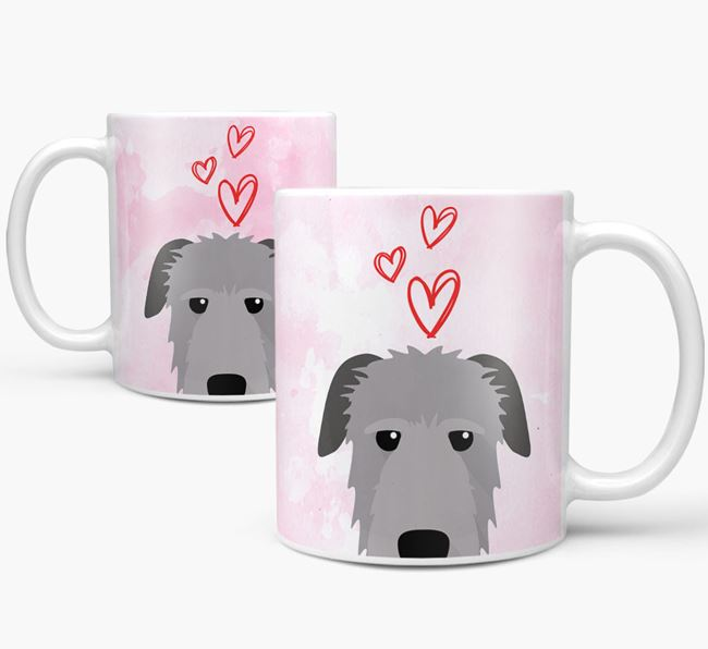 Peeking Irish Wolfhound Icon and Hearts Mug