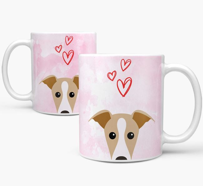 Peeking Italian Greyhound Icon and Hearts Mug