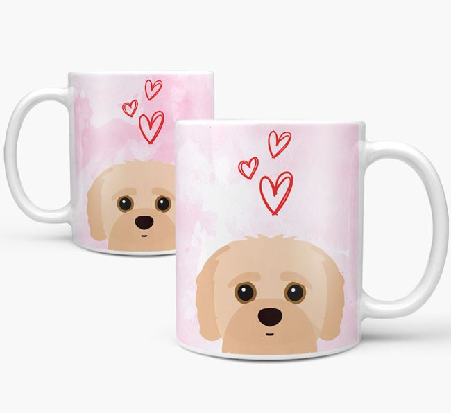 Peeking Jack-A-Poo Icon and Hearts Mug