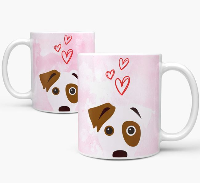 Peeking Dog Icon and Hearts Mug
