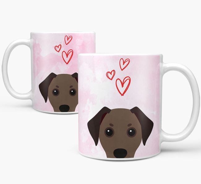 Peeking Jackshund Icon and Hearts Mug
