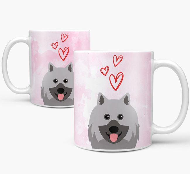 Peeking Keeshond Icon and Hearts Mug