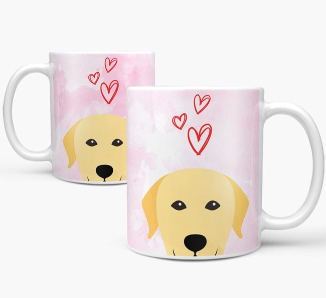 Peeking Labrador Retriever Icon and Hearts Mug