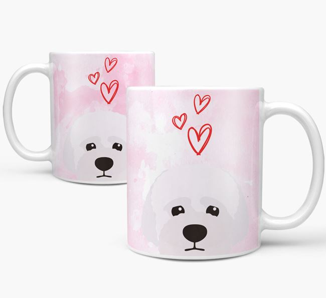 Peeking Lagotto Romagnolo Icon and Hearts Mug