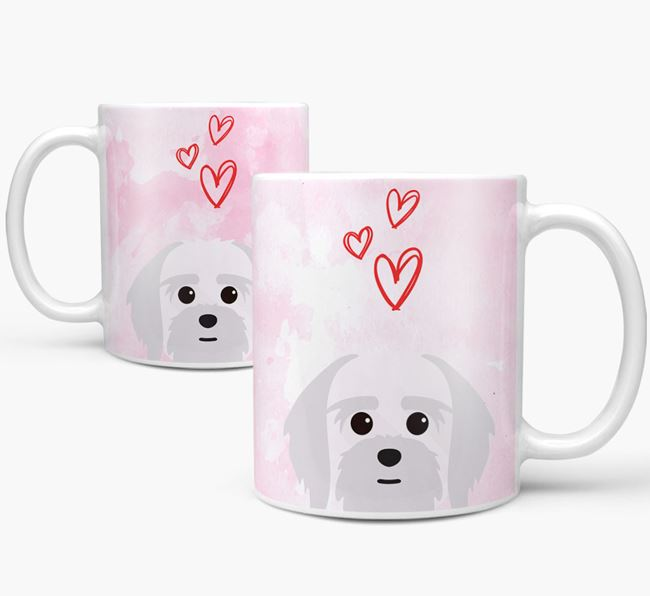 Peeking Lhatese Icon and Hearts Mug
