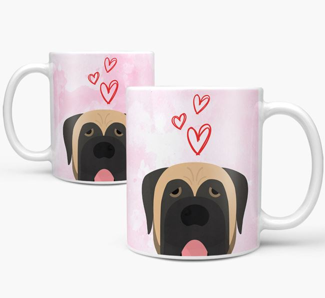 Peeking Mastiff Icon and Hearts Mug