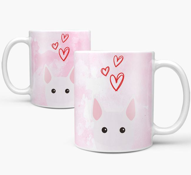 Peeking Miniature Bull Terrier Icon and Hearts Mug