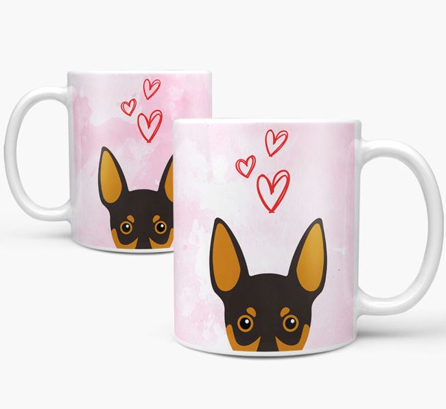 Peeking Miniature Pinscher Icon and Hearts Mug